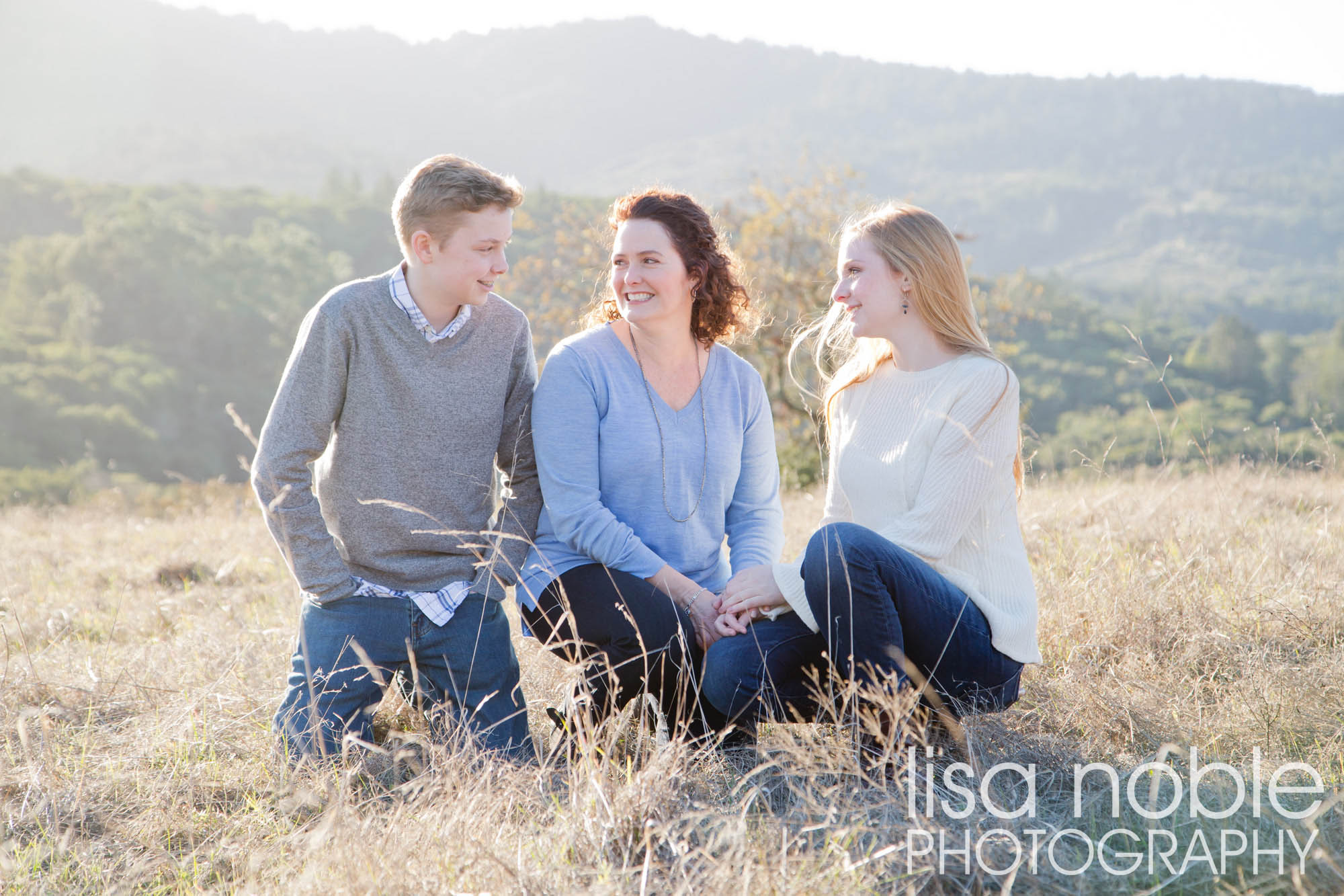 Family photographer has a photography session in the golden Bay Area hills